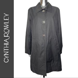Hilary Radley Black Grey Button Front Trench Coat